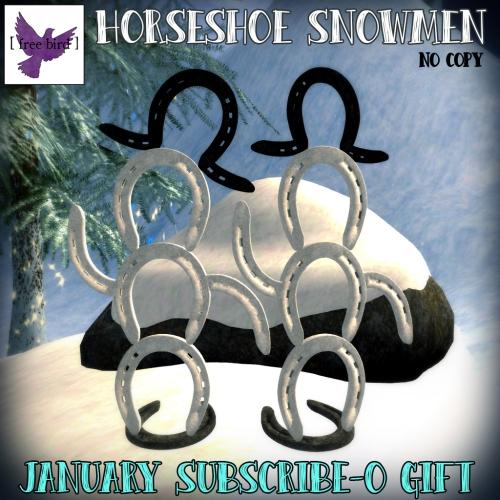 [ free bird ] Horseshoe Snowmen Set - January Subscribe-o Gift