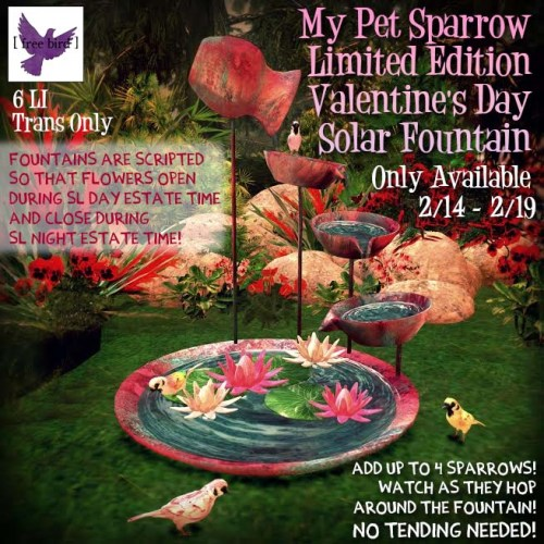 [ free bird ] LE My Pet Sparrow Valentine's Day Solar Fountain Ad.jpg