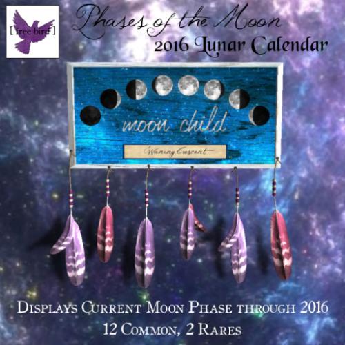 [ free bird ] 2016 Phases of the Moon Calendar Gacha