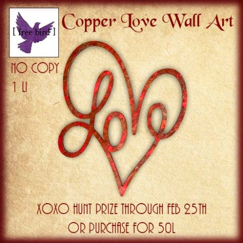 [ free bird ] Copper Love Wall Art XoXo Hunt Ad.jpg