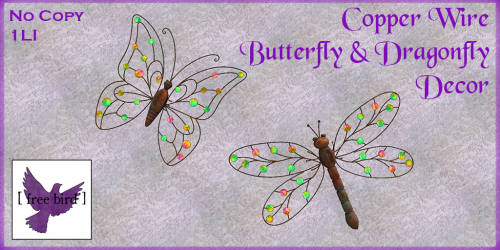 [ free bird ] Copper Wire Butterfly & Dragonfly Decor Ad.png